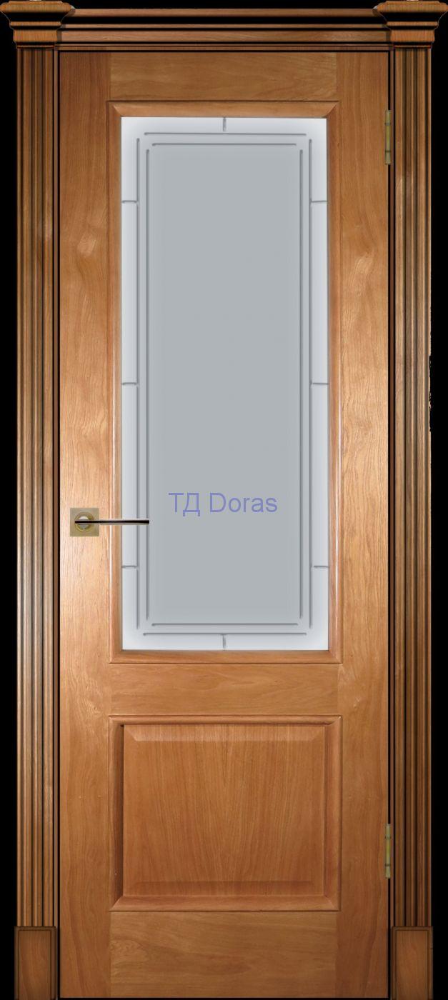 Багетная межкомнатная дверь «Прага» шпон Ясень цвет светлай орех, стекло АП-46