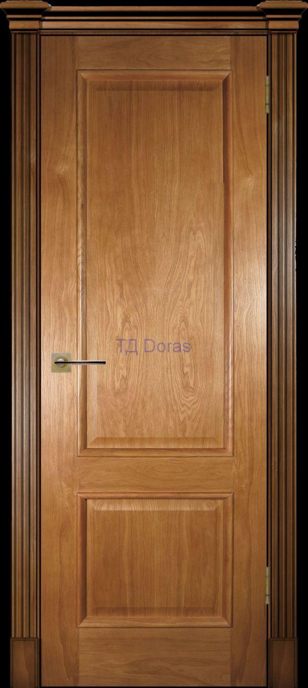 Багетная межкомнатная дверь «Прага» шпон Ясень цвет светлый орех, глухая