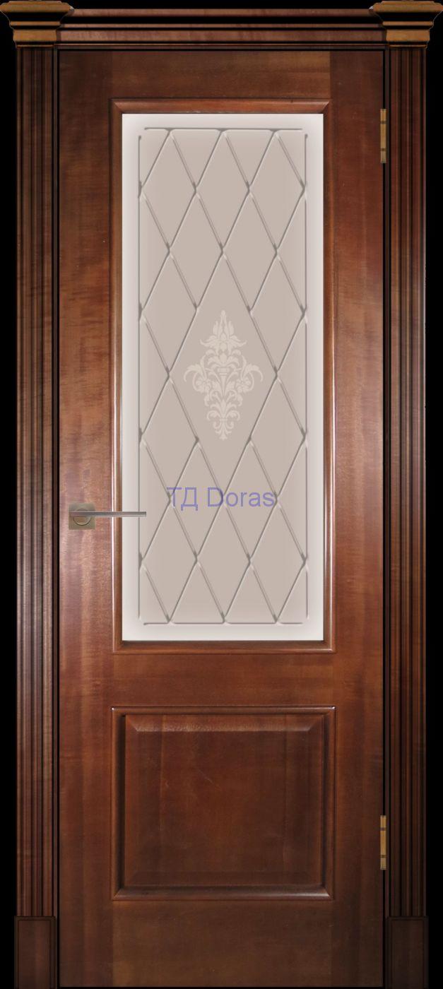 Багетная межкомнатная дверь «Прага», шпон Ясень, цвет Миланский орех, стекло АП-49