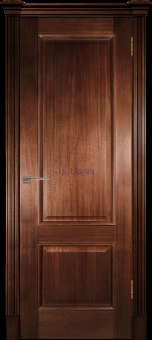 Багетная межкомнатная дверь «Прага», шпон Ясень, цвет Миланский орех, глухая