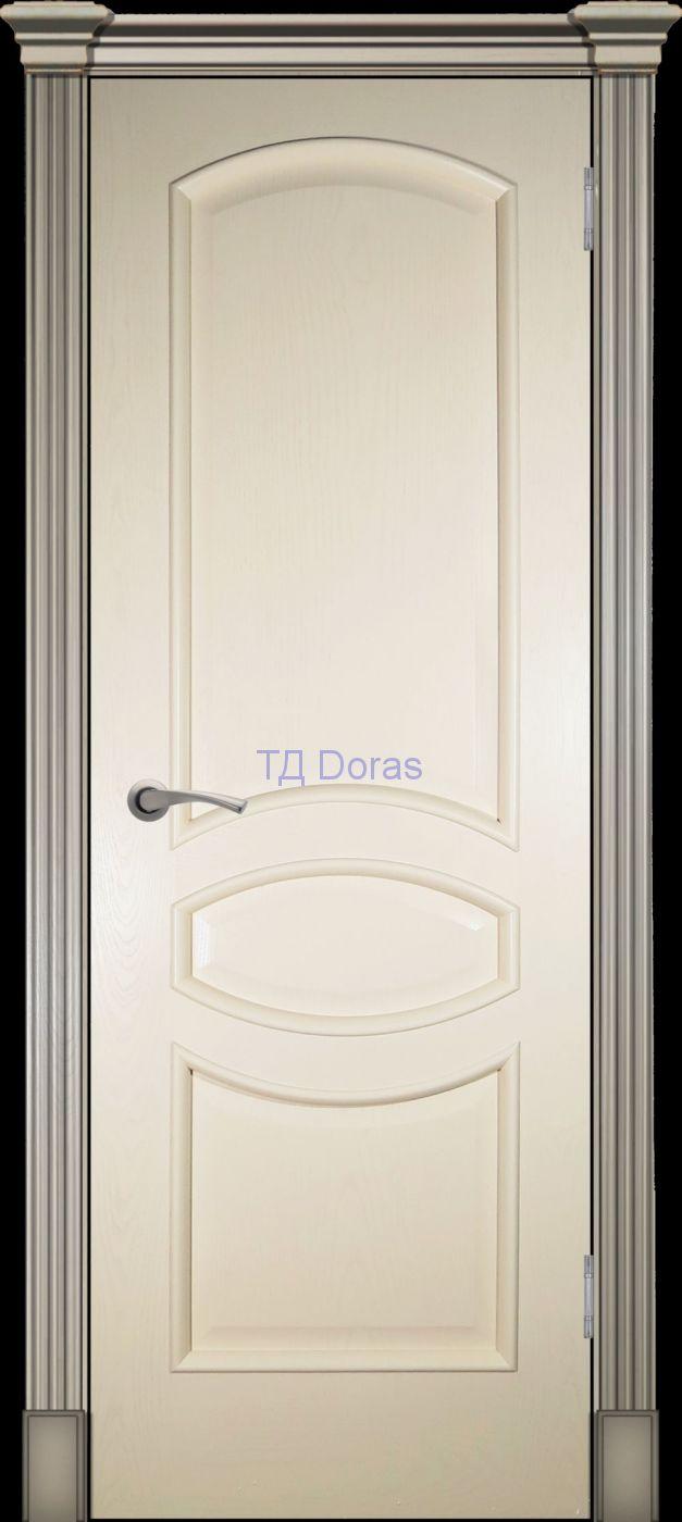Багетная межкомнатная дверь «Офелия Б», шпон Ясень, цвет Крем, глухая