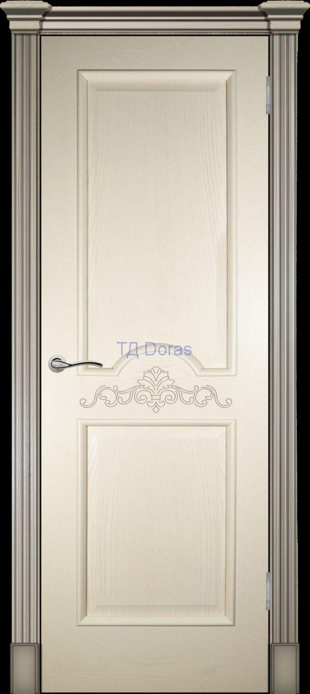 Багетная межкомнатная дверь «Париж» , шпон Ясень, цвет Крем, глухая с лепниной