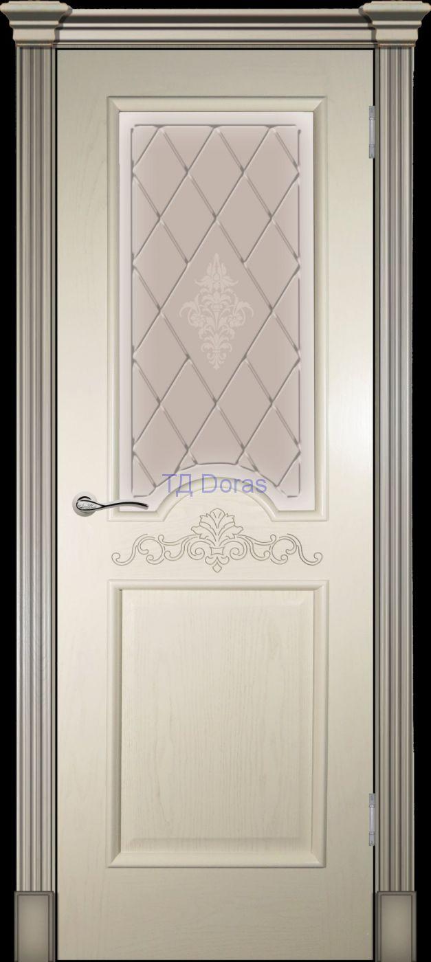 Багетная межкомнатная дверь «Париж»  с лепниной шпон Ясень, цвет крем, стекло АП-49