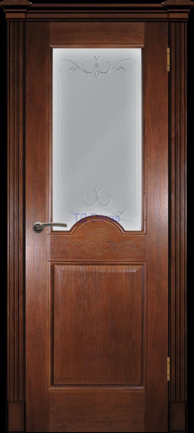 Багетная межкомнатная дверь «Париж» , шпон Ясень, цвет Темный орех, стекло АП-47