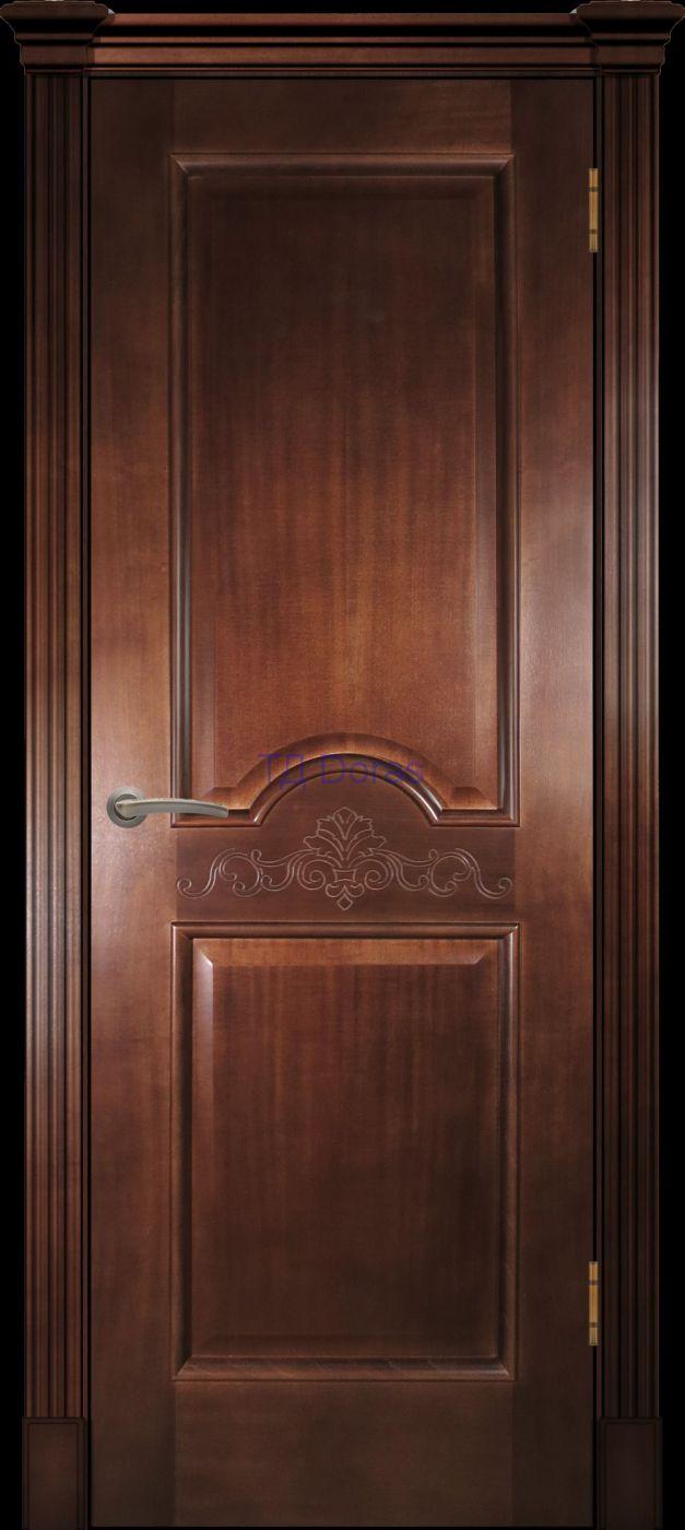 Багетная межкомнатная дверь «Париж», шпон Ясень, цвет Миланский орех, глухая