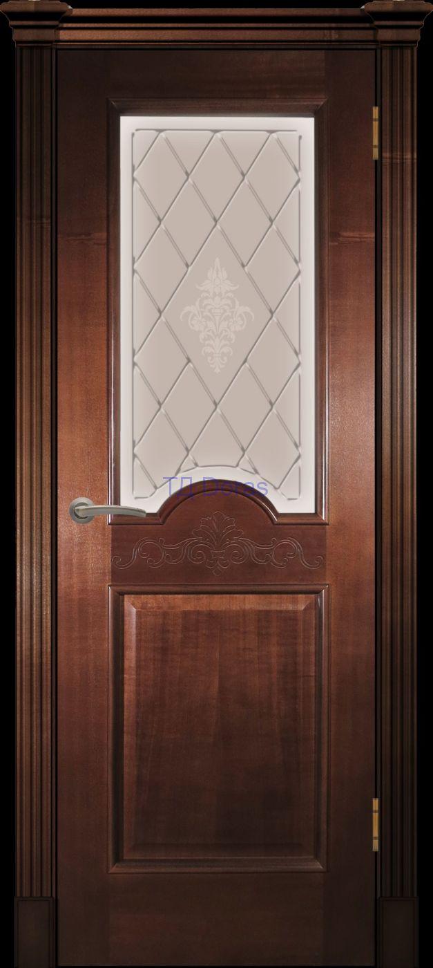 Багетная межкомнатная дверь «Париж» , шпон Ясень, цвет Миланский орех, стекло АП-49