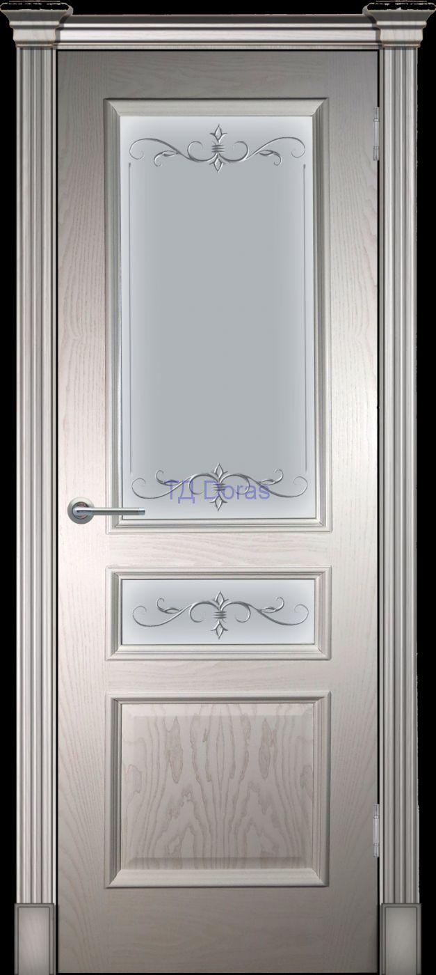 Багетная межкомнатная дверь «Оливия классика», шпон Ясень цвет Ваниль, стекло АП-47
