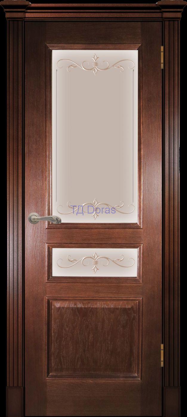 Багетная межкомнатная дверь «Оливия классика», шпон Ясень, цвет Темный орех, стекло АП-47