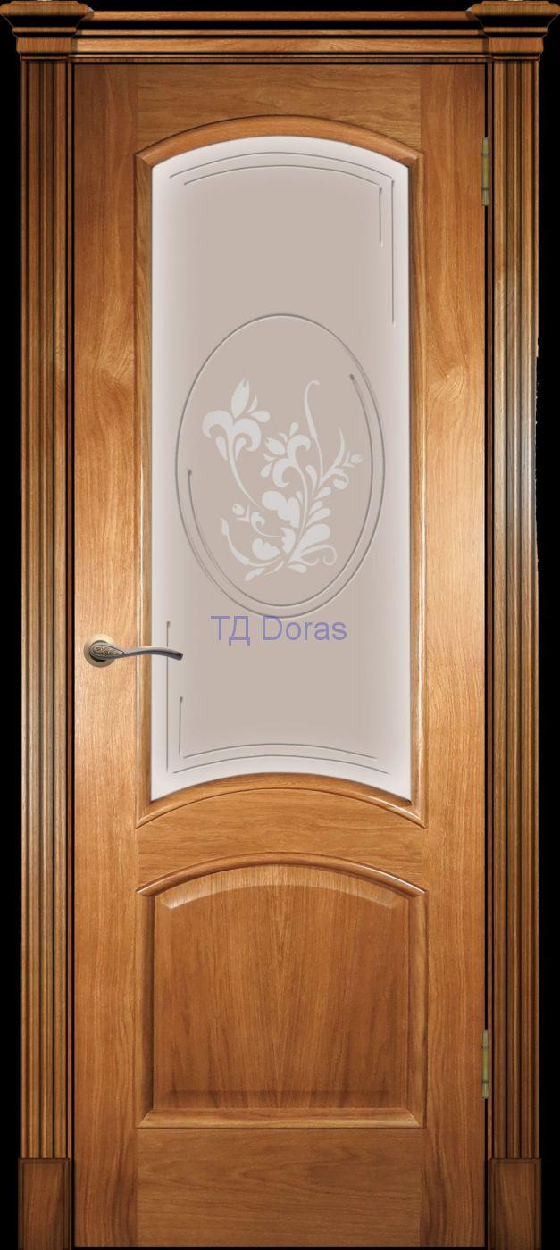Багетная межкомнатная дверь «Леон М», шпон Ясень, цвет Светлый орех, стекло АП-1