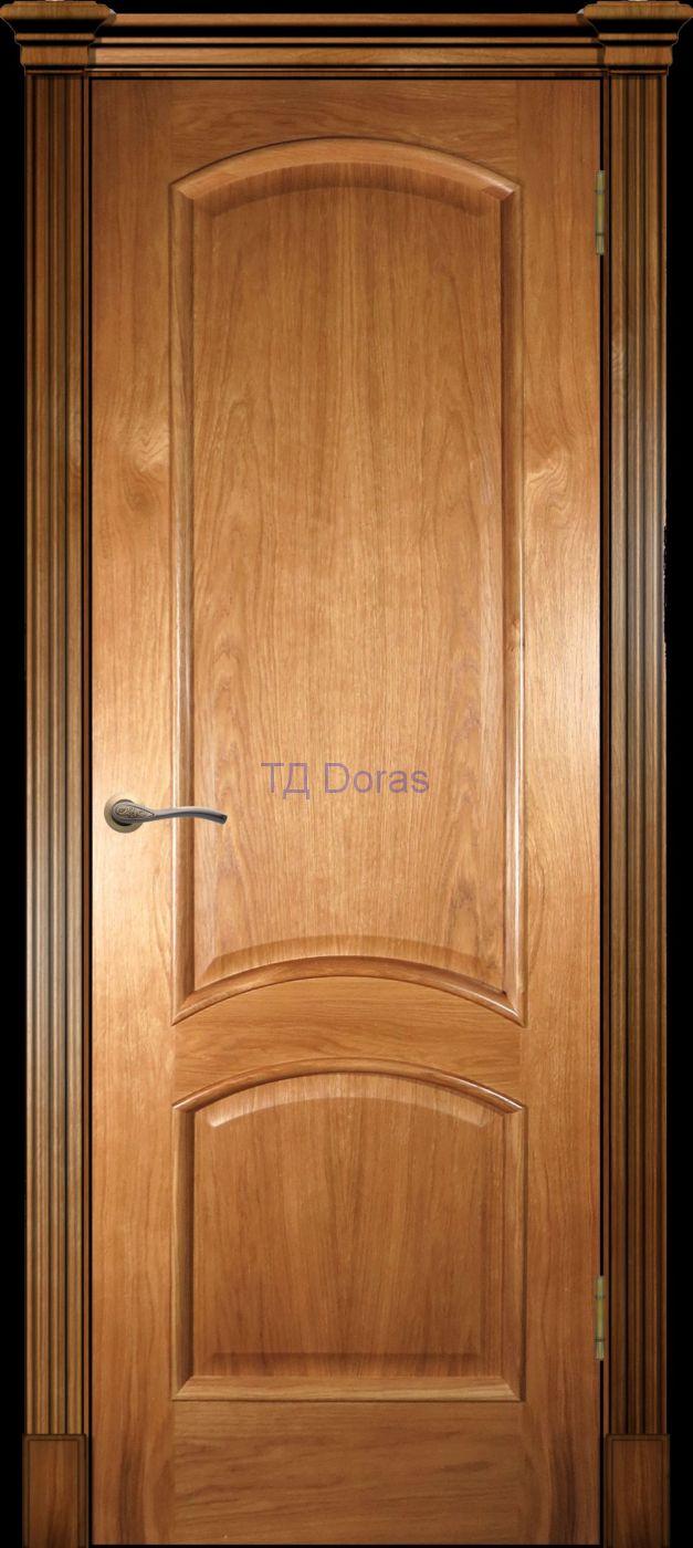 Багетная межкомнатная дверь «Леон М», шпон Ясень, цвет Светлый орех, глухая