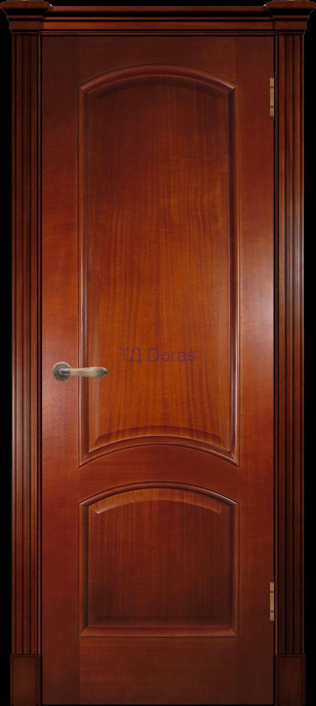 Багетная межкомнатная дверь «Леон М», шпон Ясень, цвет Темный анегри, глухая