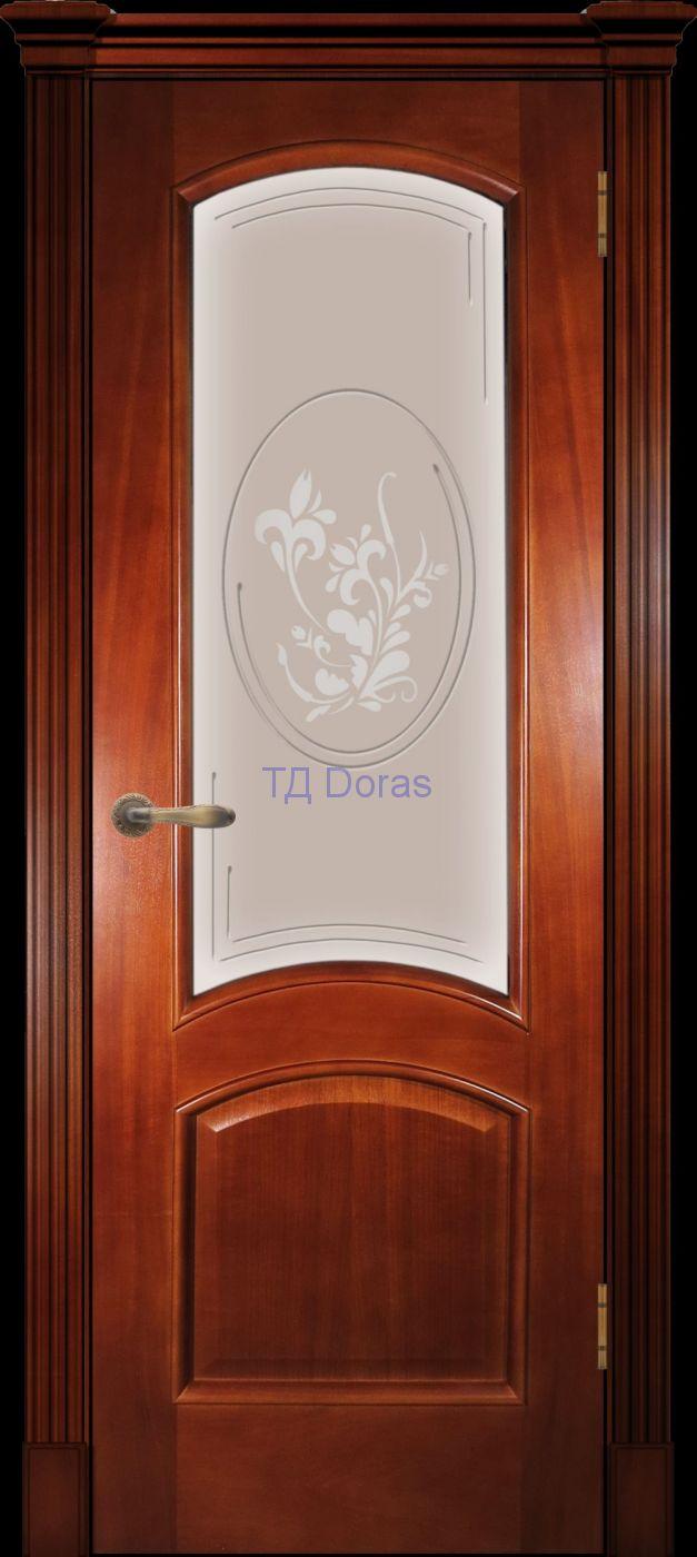 Багетная межкомнатная дверь «Леон М», шпон Ясень, цвет Темный анегри, стекло АП-1