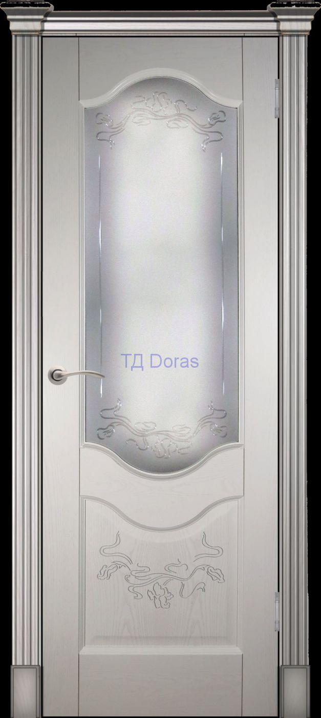 Калевочная межкомнатная дверь «Прованс 2» , шпон Ясень, цвет Ваниль, стекло АП-70