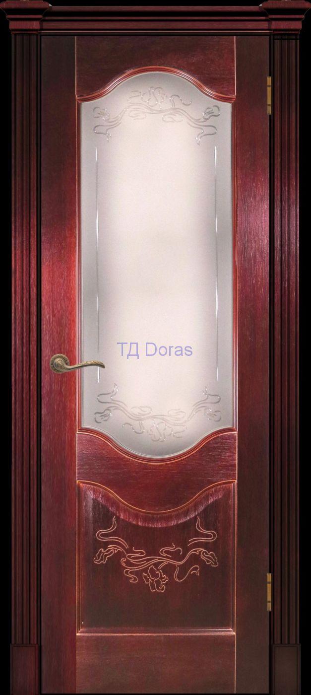 Калевочная межкомнатная дверь «Прованс 2» , шпон Ясень, цвет Сапель, стекло АП-70