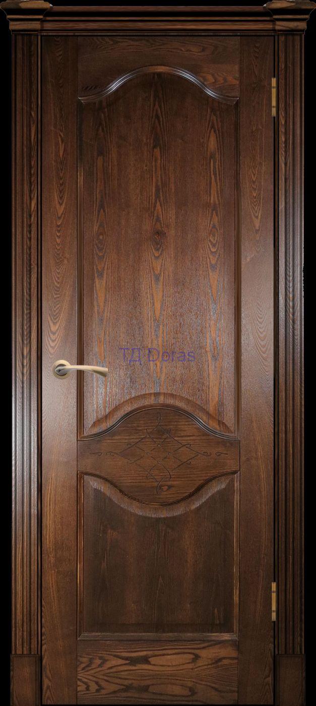 Калевочная межкомнатная дверь «Прованс 4», шпон Ясень ретро, глухая