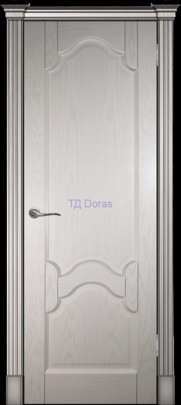 Калевочная межкомнатная дверь «Виктория», шпон Ясень, цвет Ваниль, глухая
