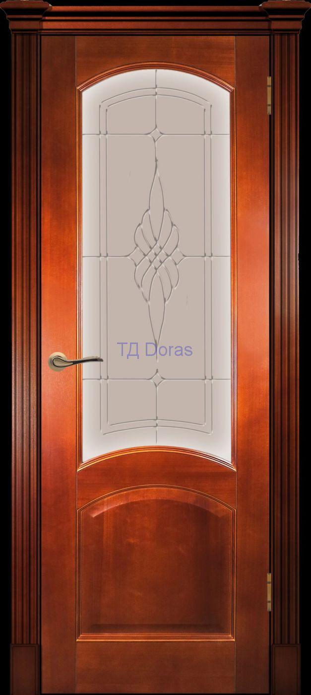 Калевочная межкомнатная дверь «Леон К» шпон Ясень, цвет Темный анегри, стекло АП-6