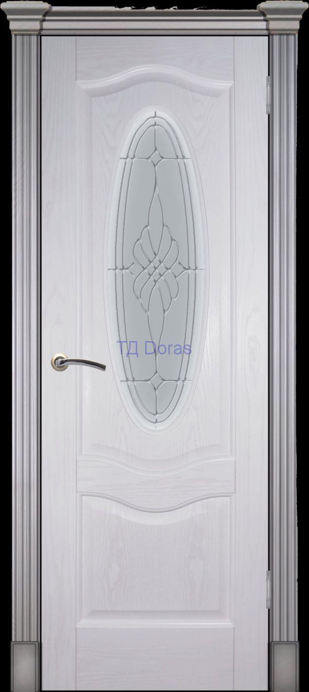 Калевочная межкомнатная дверь «Венера К», шпон Ясень белый, стекло АП-6