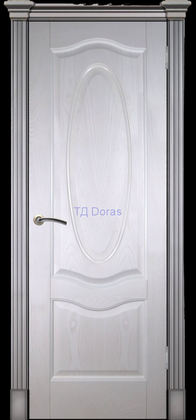 Калевочная межкомнатная дверь «Венера К», шпон Ясень белый, глухая
