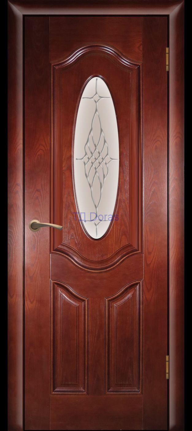 Багетная межкомнатная дверь «Орбита Б» шпон Ясень, цвет Коньяк, стекло АП-6