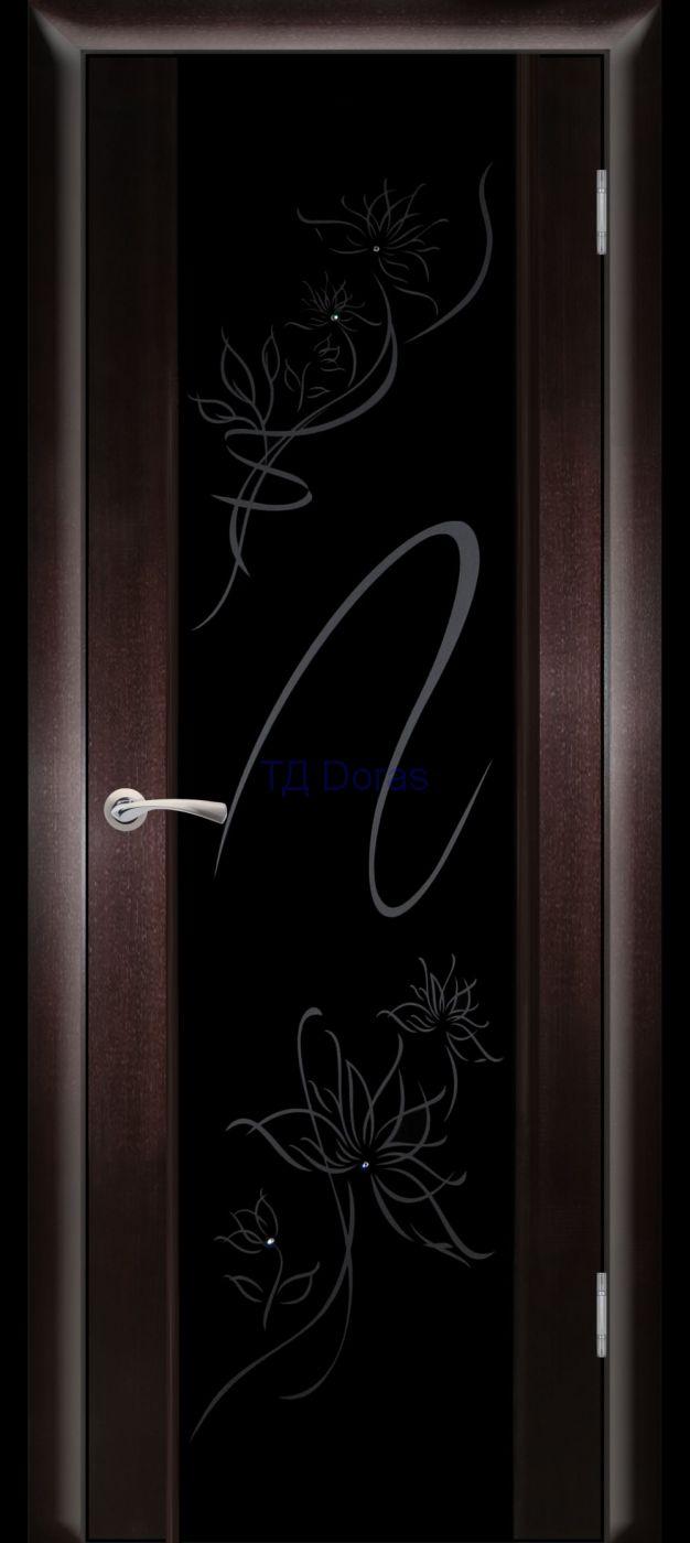 Hi-Tech межкомнатная дверь «Плаза 3», шпон Ясень, цвет Венге, стекло ТС-16
