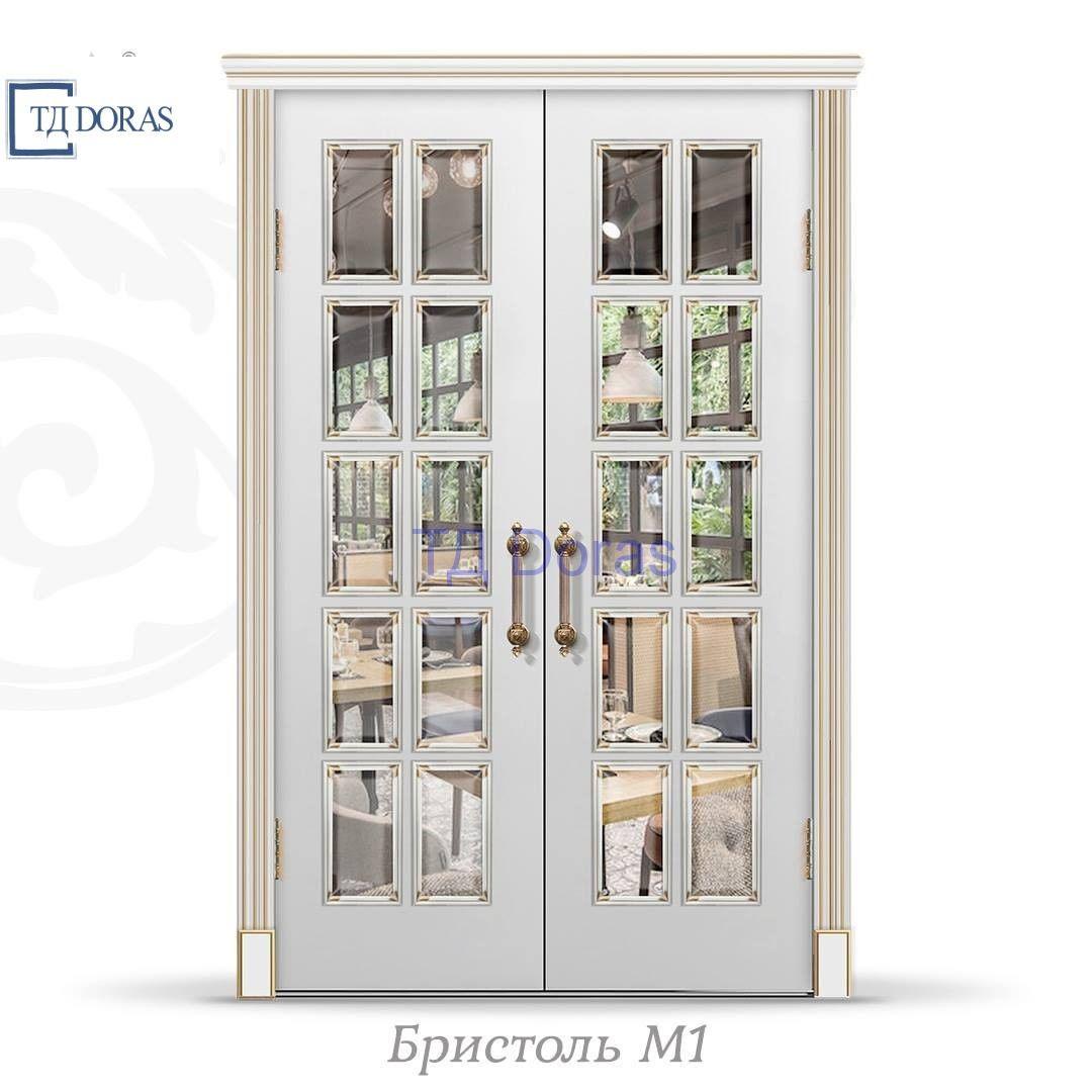 """Межкомнатная дверь """"Бристоль М1"""" шпон Ясень, цвет Белый ясень, стекло АП-33"""