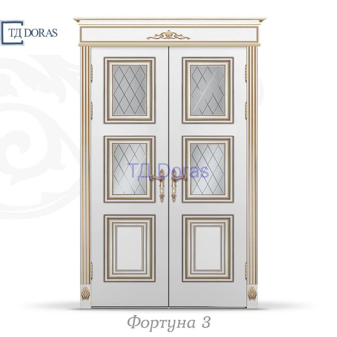 """Межкомнатная дверь """"Фортуна 3"""",  эмаль цвет Ваниль, стекло АП-7"""