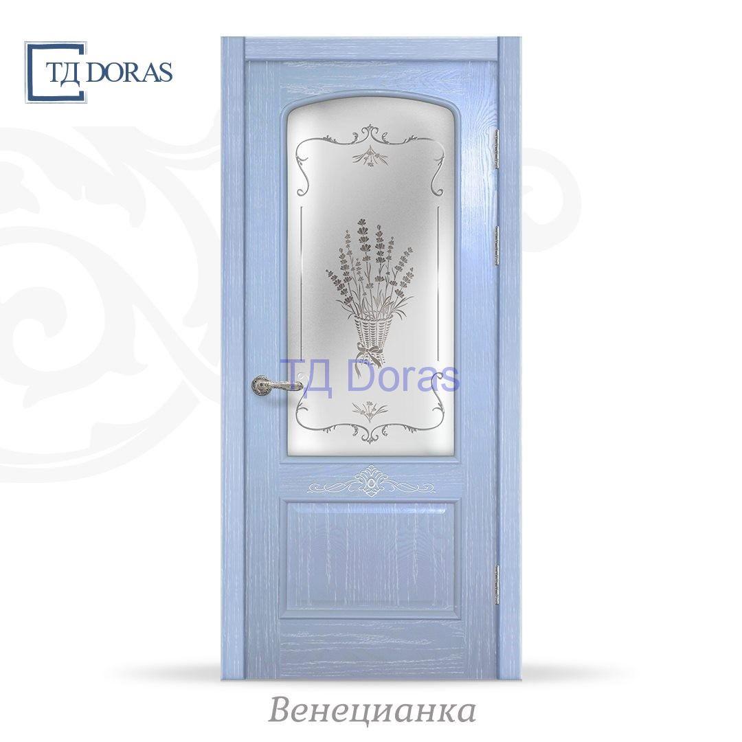 """Межкомнатная дверь """"Венецианка 1"""" шпон Ясень, цвет Лаванда, стекло АП-53"""