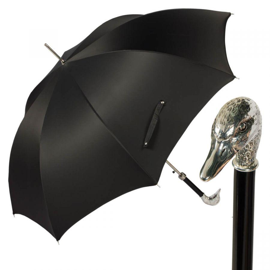 Зонт-трость Pasotti Goose Silver Oxford Black
