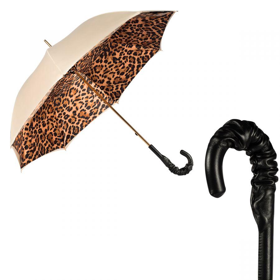 Зонт-трость Pasotti Ivory Leoparde Pelle