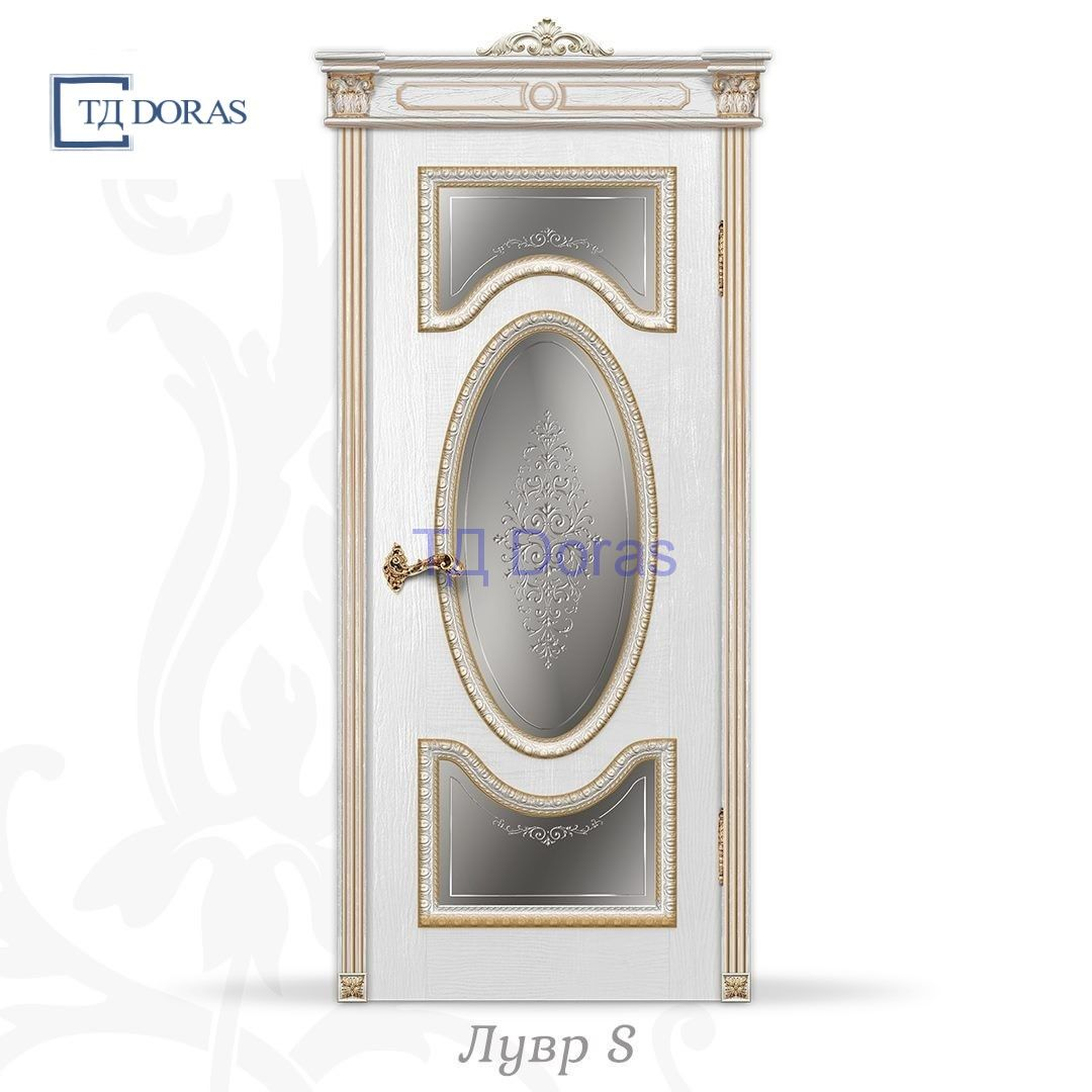 """Межкомнатная дверь """"Лувр S"""" шпон Ясень, цвет Белый, стекло АП-48"""
