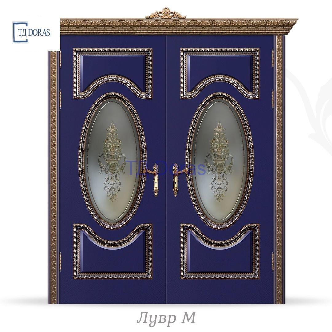 """Межкомнатная дверь """"Лувр М"""" эмаль цвет Кобальт, стекло ДВ-22 Багет орех патина"""