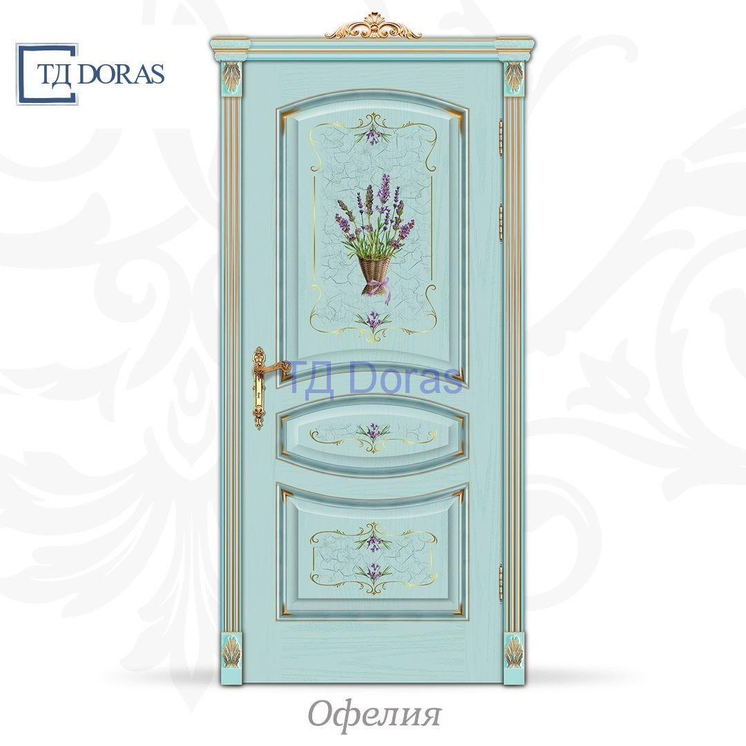 """Межкомнатная дверь """"Офелия"""" шпон Ясень, цвет Лаванда, фотопечать"""