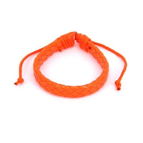 Плетёный кожаный браслет, оранжевый неоновый
