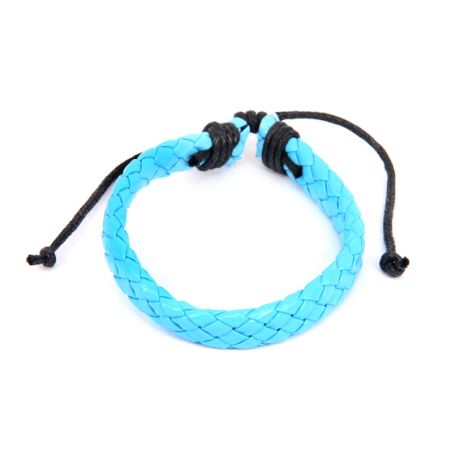 Плетёный кожаный браслет, голубой