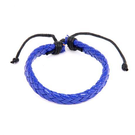 Плетёный кожаный браслет, синий