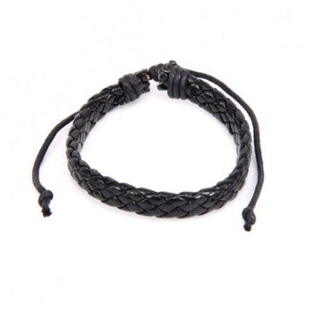 Плетёный кожаный браслет, черный