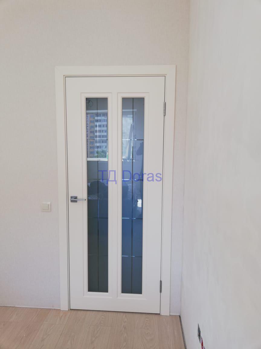 """Межкомнатна дверь """"Сити"""" массив в ПВХ покрытии ПВХ, цвет Сосна бранко, стекло сатинат белый с гравировкой"""