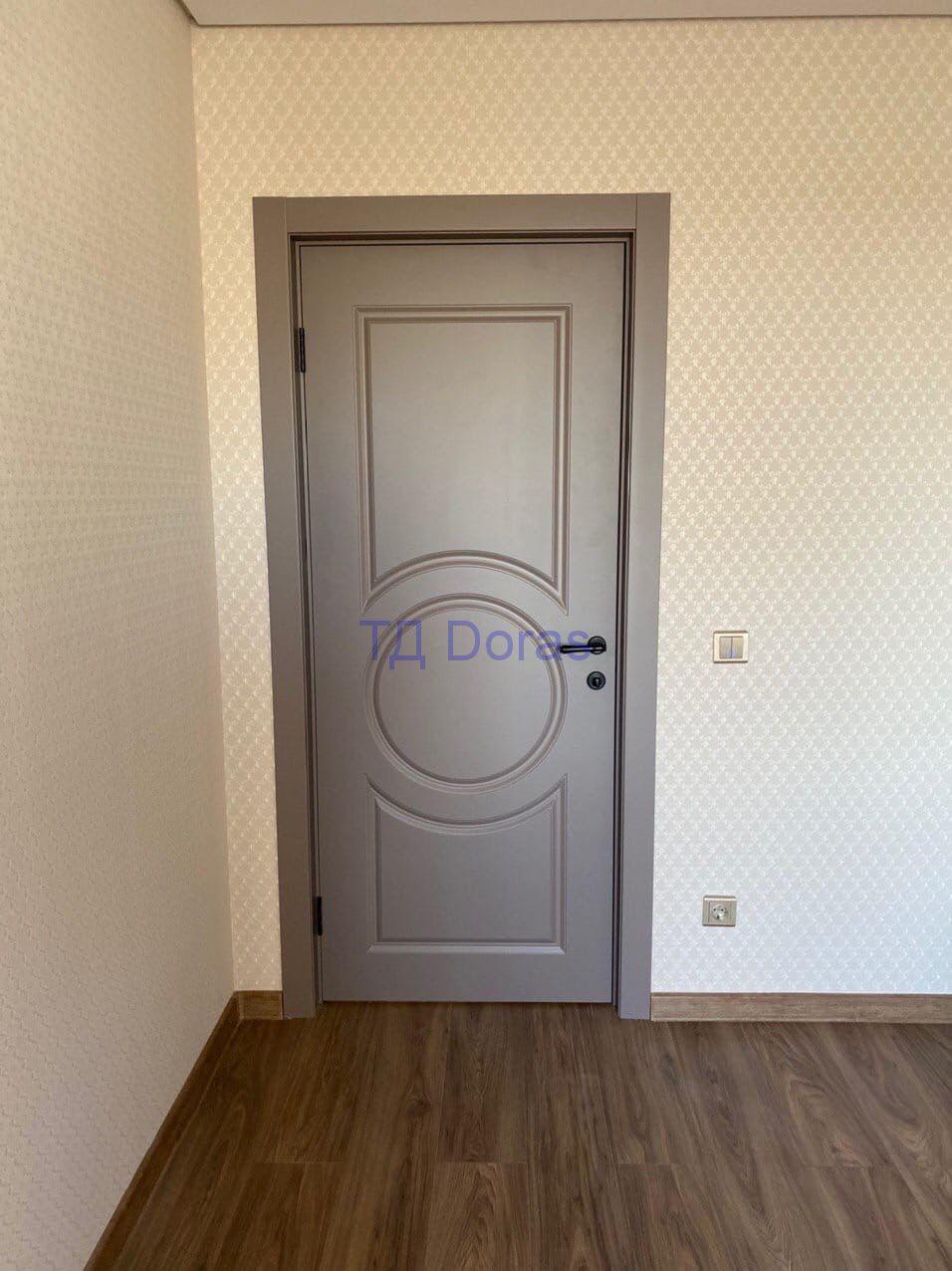 """Межкомнатна дверь """"Ева 8"""" массив в ПВХ покрытии ПВХ, цветСофт матовый грей, глухая"""