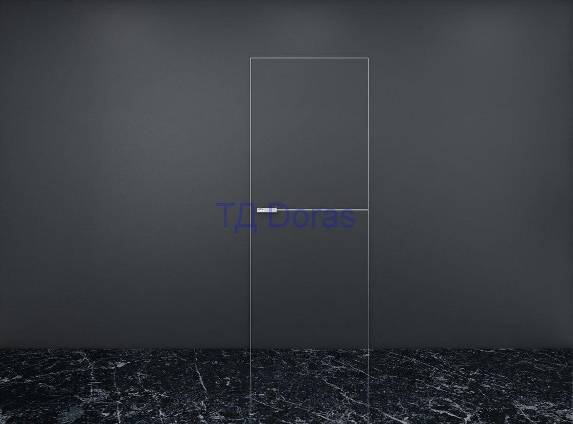"""Межкомнатна дверь """"INVISIBLE""""  цвет Графит с алюминиевыми кромками и молдингом  + замок AGB"""
