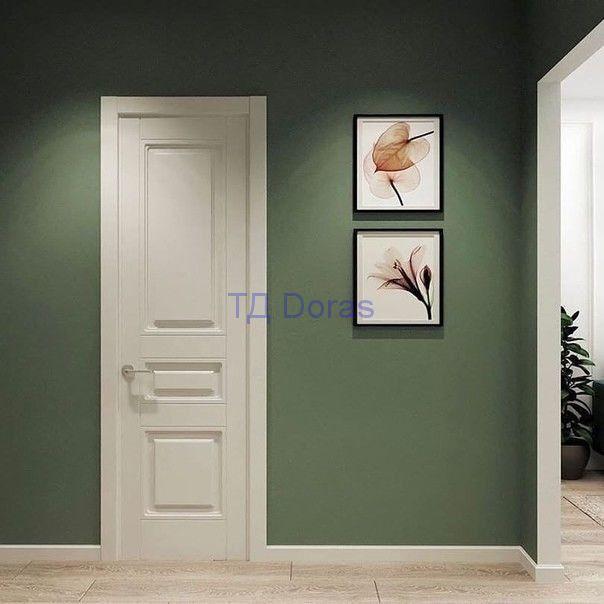 """Межкомнатна дверь """"Ева 3"""" массив в  покрытии ПВХ, цвет Белый снег матовый,глухая"""