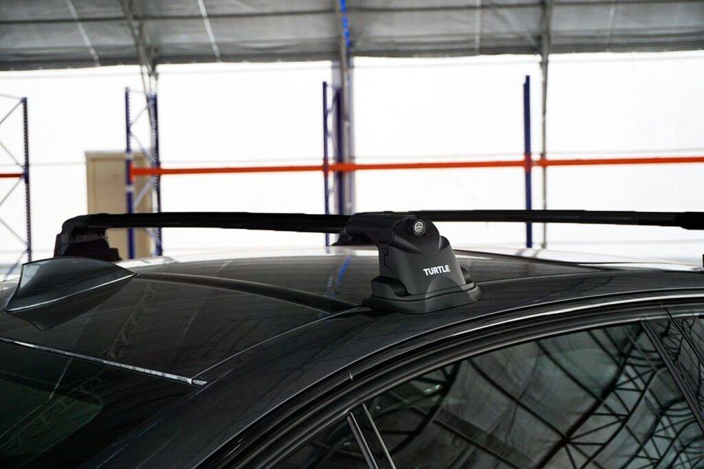 Багажник на крышу Mazda CX-5 2012-17, Turtle Air 3 Premium, аэродинамические дуги в штатные места (черный цвет)