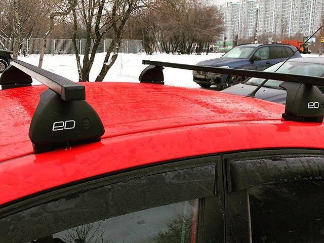 Багажник на крышу Mazda CX-7, Евродеталь, стальные прямоугольные дуги