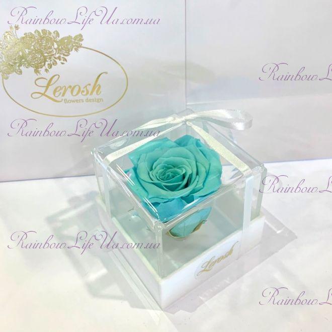 "Бутон розы в коробке бирюзовая ""Classic"""