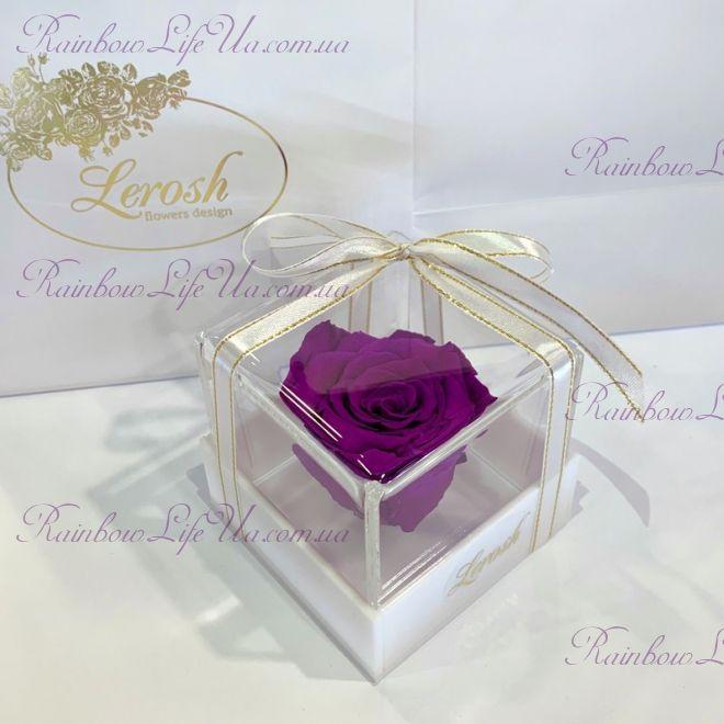 """Бутон розы в коробке фиолетовая """"Classic"""""""