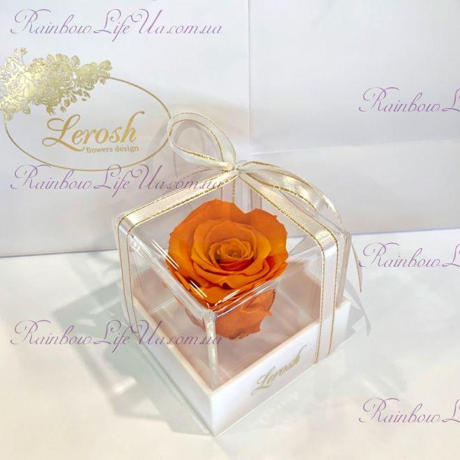 """Бутон розы в коробке оранжевая """"Classic"""""""