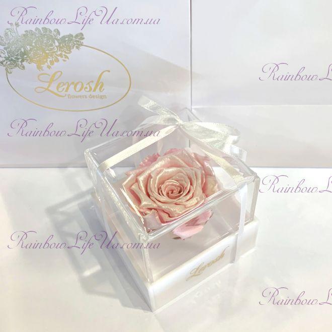 """Бутон розы в коробке розовый жемчуг """"Classic"""""""