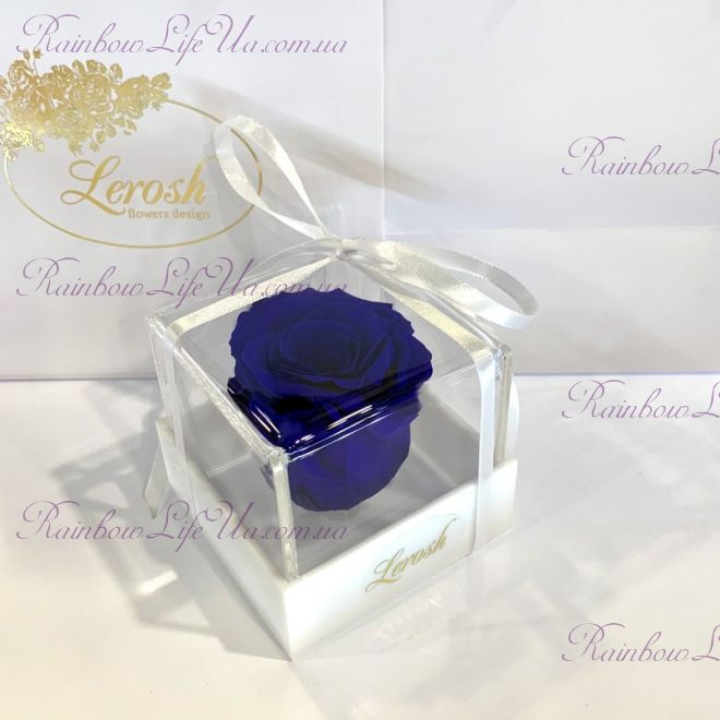 """Бутон розы в коробке синяя """"Classic"""""""