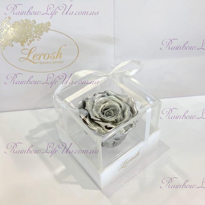 """Бутон розы в коробке серебро """"Classic"""""""