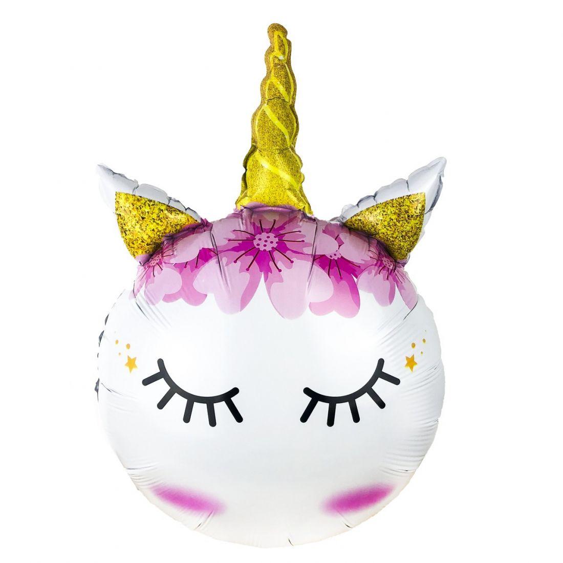 Единорог спящий фигурный шар фольгированный с гелием